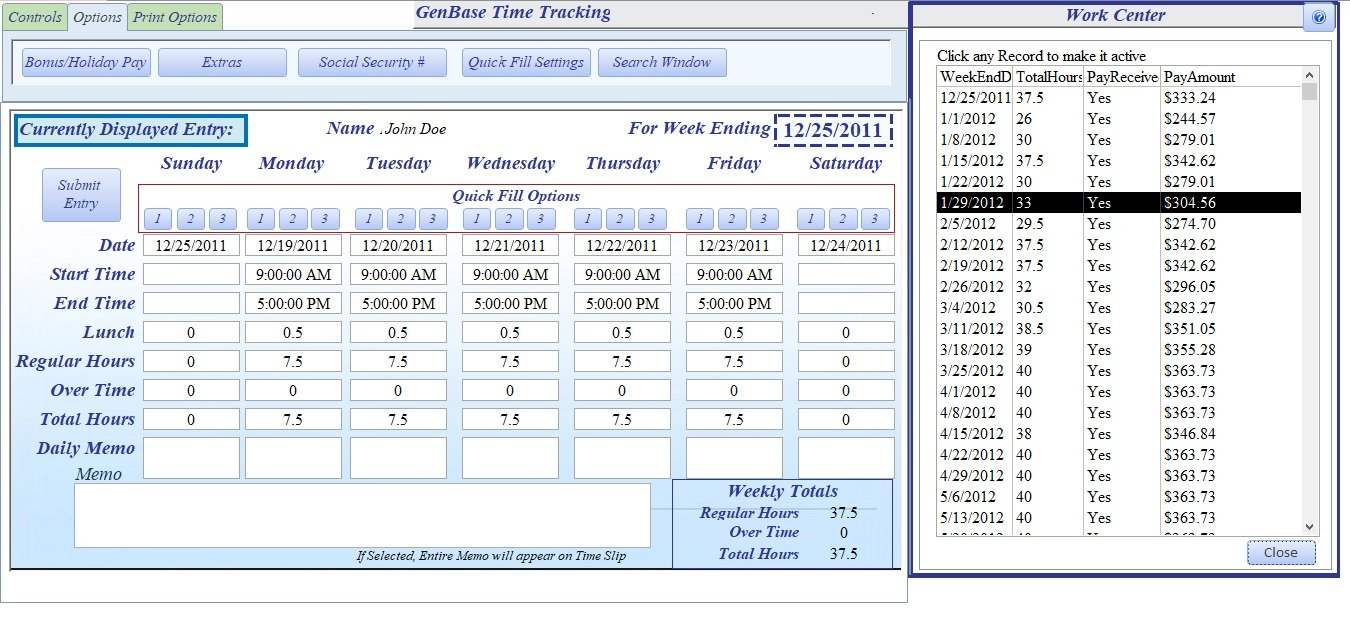 Time Tracking Search Window